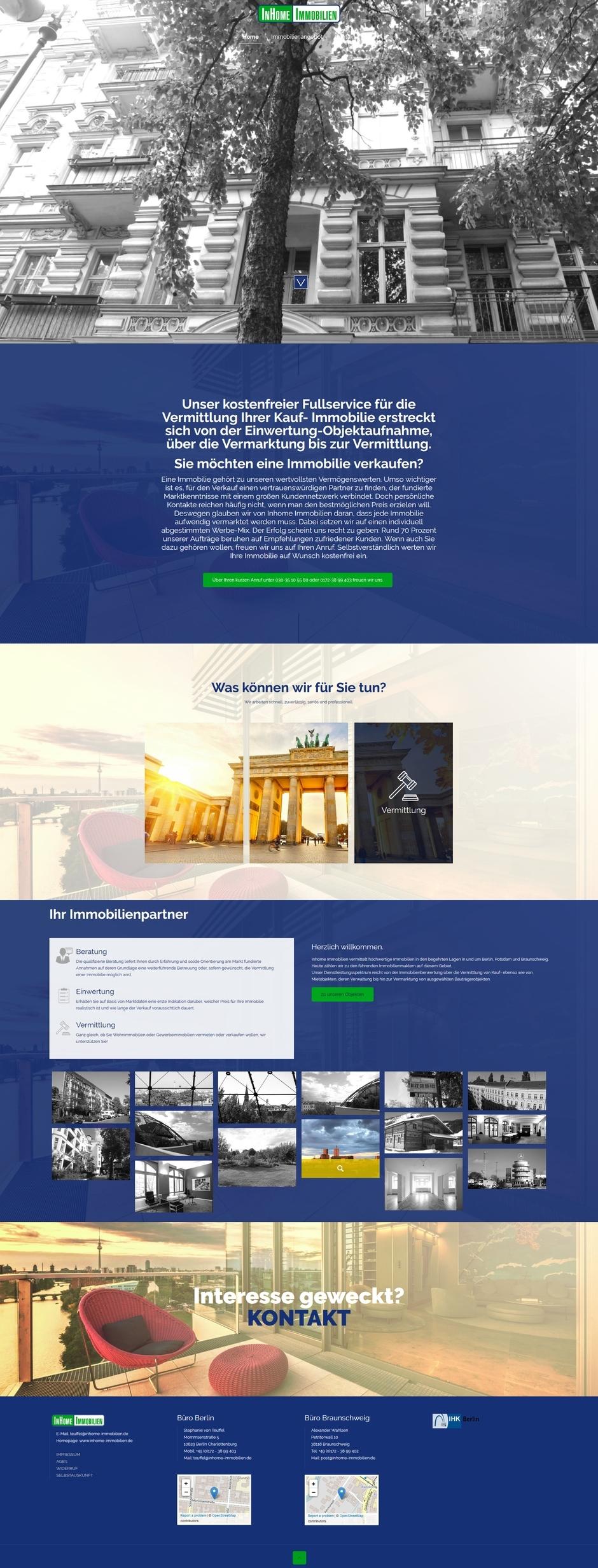 Homepage von inhome Immobilien