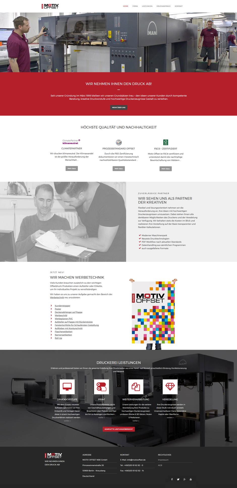 Homepage von Motiv Offset