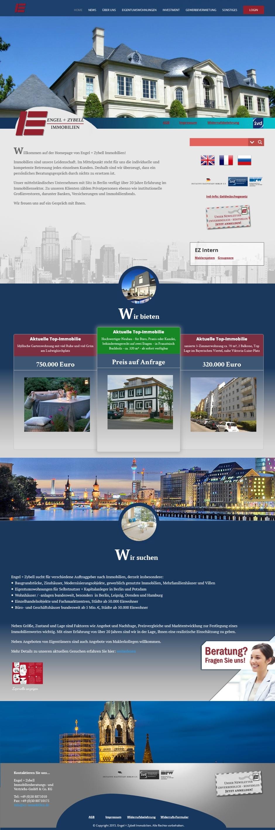 Homepage von Engel und Zybell Immobilien