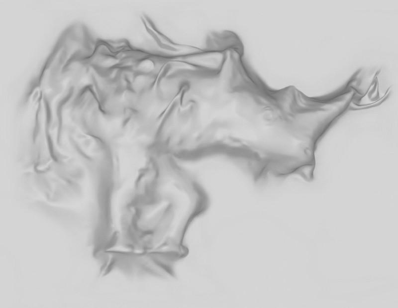 Rhinozeros 3D-Modell unter Stoffdecke